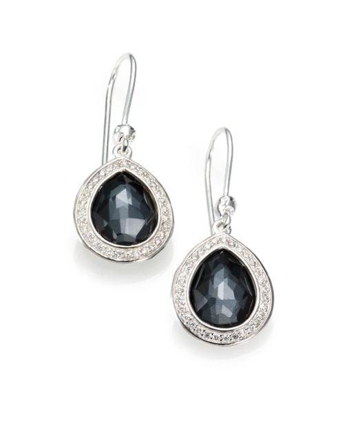 Ippolita   Metallic Stella Hematite, Clear Quartz, Diamond & Sterling Silver Doublet Teardrop Earrings   Lyst