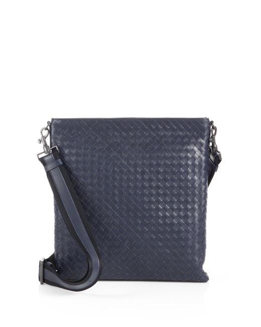 Bottega Veneta | Blue Intrecciato Leather Crossbody Messenger for Men | Lyst