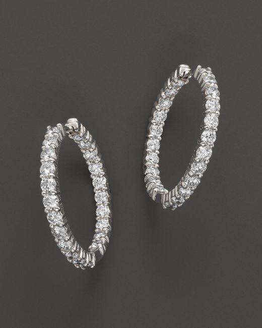 Roberto Coin   18k White Gold Diamond Inside-out Hoop Earrings   Lyst