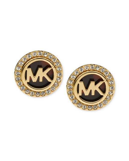 Michael Kors   Metallic Gold-tone Tortoise And Pave Logo Stud Earrings   Lyst
