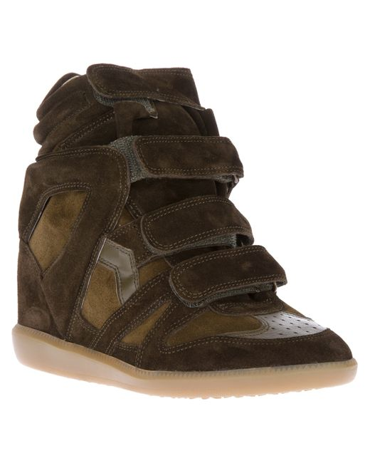 isabel marant bekett suede high top wedge sneakers in brown khaki save 56 lyst. Black Bedroom Furniture Sets. Home Design Ideas