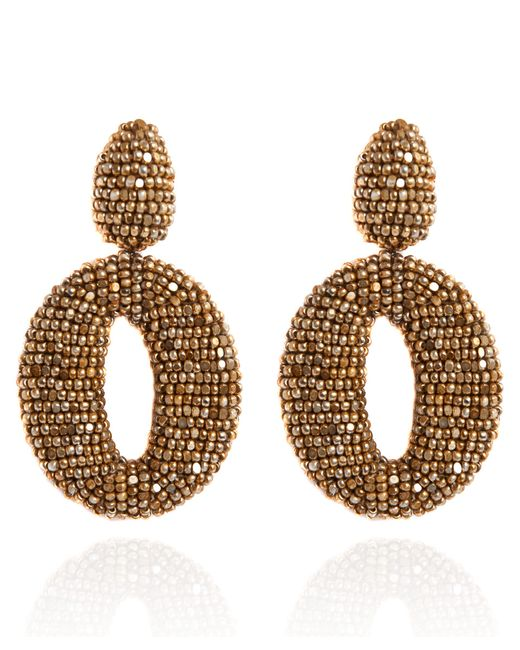 Oscar de la Renta | Metallic Classic Oscar Beaded O Clip-on Earrings | Lyst