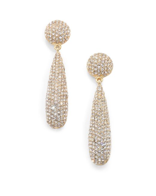 Kenneth Jay Lane | Metallic Pave Teardrop Earrings/goldtone | Lyst