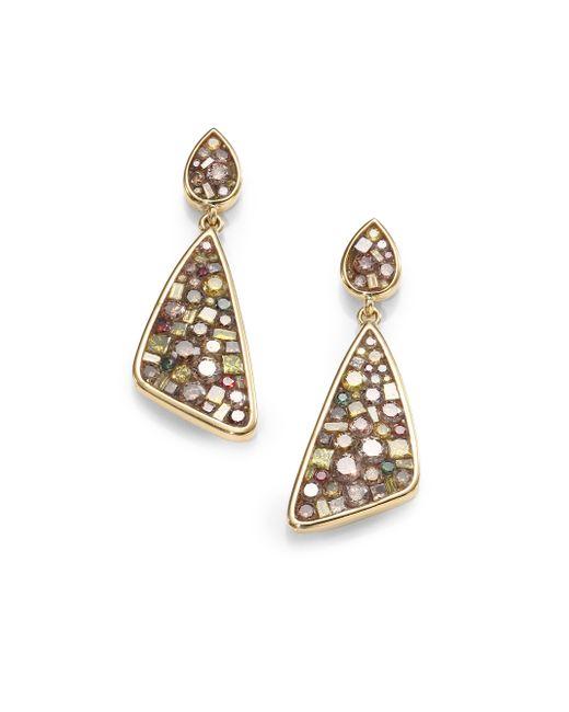 Plevé | Metallic Cinnamon Diamond & 18k Yellow Gold Mini Kite Earrings | Lyst