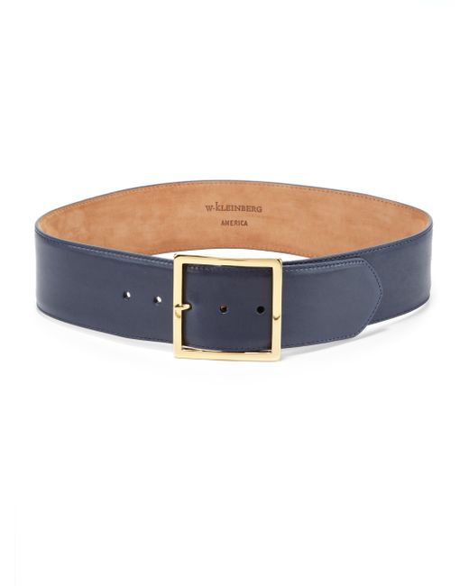 w kleinberg wide leather belt in blue navy save 31