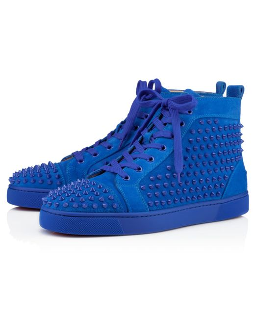 Christian Louboutin Louis Spiked Suede High Top Sneakers