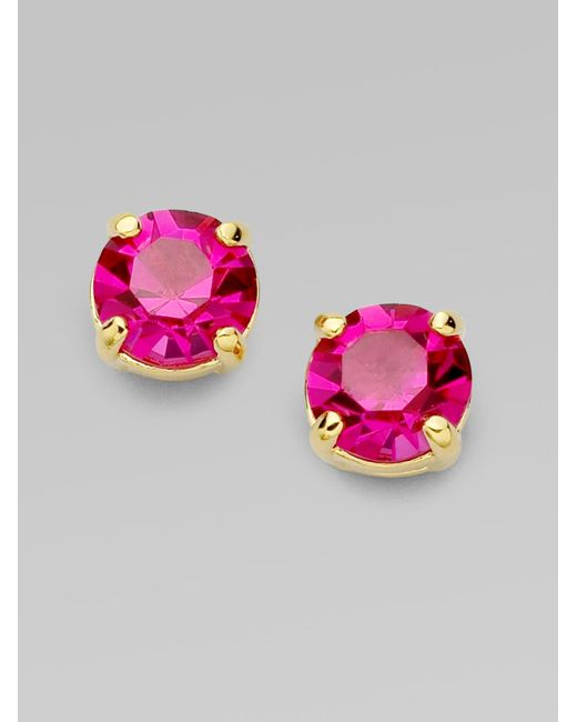 kate spade new york | Pink Faceted Round Stud Earrings | Lyst