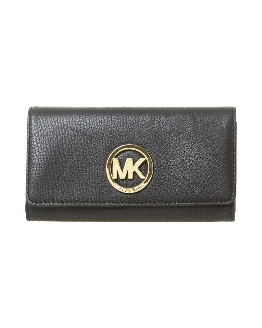 michael kors fulton large black flapover purse in black lyst. Black Bedroom Furniture Sets. Home Design Ideas