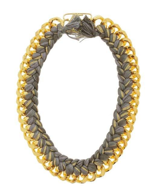 Aurelie Bidermann | Gray 18k Dip Necklace with Cotton Braid | Lyst