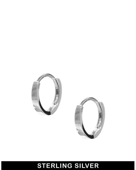 ASOS | Metallic Sterling Silver Mini Hoop Earrings | Lyst