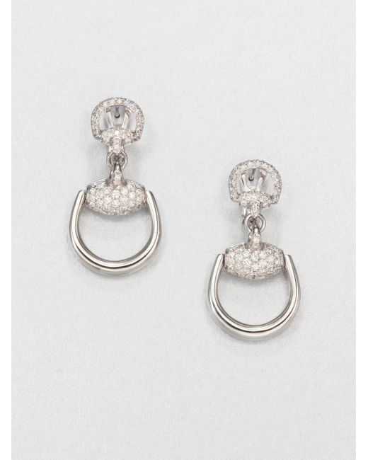 Gucci | Metallic Horsebit Diamond & 18k White Gold Drop Earrings | Lyst