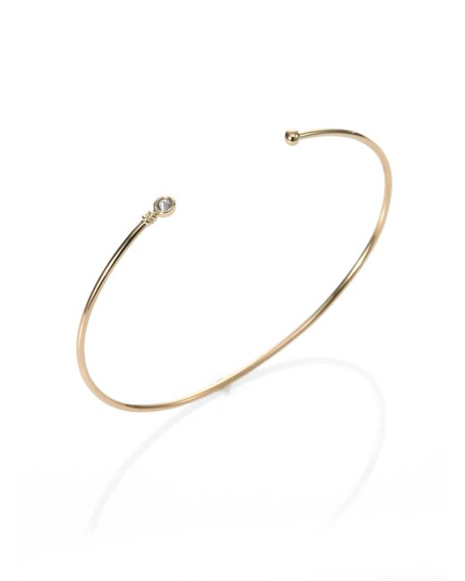 Mizuki | Metallic Diamond & 14k Yellow Gold Bangle Bracelet | Lyst
