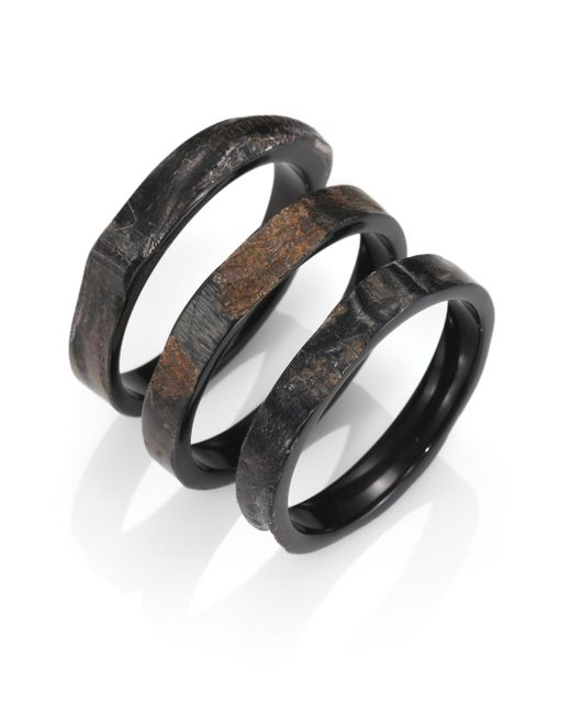 Nest | Brown Rough Horn Three-bangle Bracelet Set | Lyst
