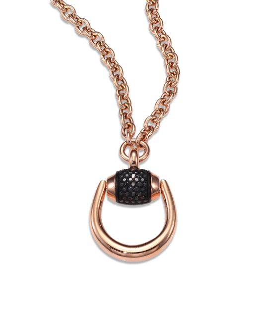 Gucci | Pink Horsebit Black Diamond & 18k Rose Gold Pendant Necklace | Lyst