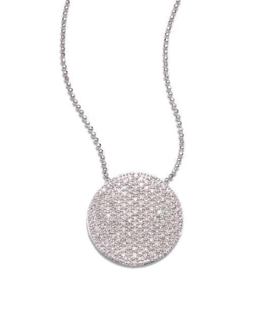 Phillips House | Pave 14k White Gold & Diamond Large Infinity Disc Necklace | Lyst