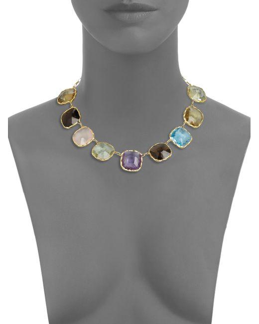 Roberto Coin   Multicolor Semi-precious Multi-stone & 18k Yellow Gold Necklace   Lyst