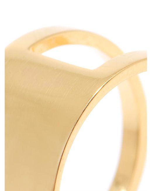 DINA KAMAL DK01 | Metallic Id Double Band Yellow Gold Ring | Lyst