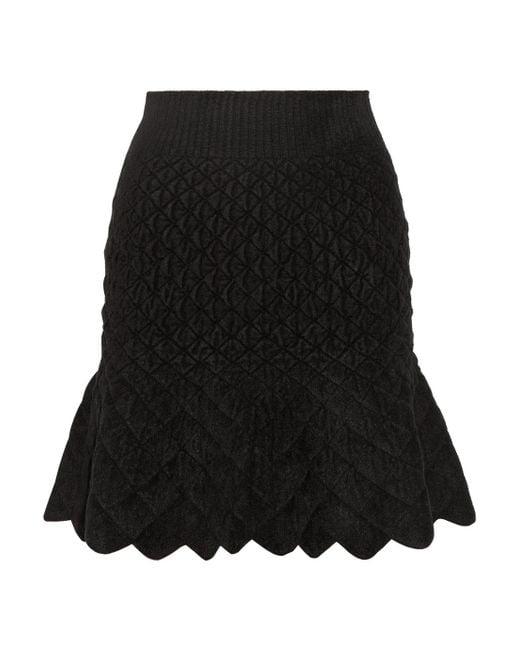 Alexander McQueen   Black Quilted Chenille Mini Skirt   Lyst