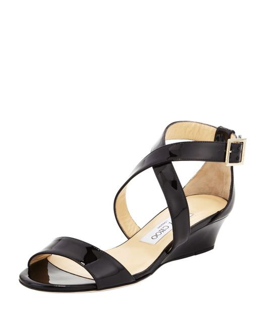 Jimmy Choo | Black Chiara Demi-wedge Crisscross Sandal | Lyst