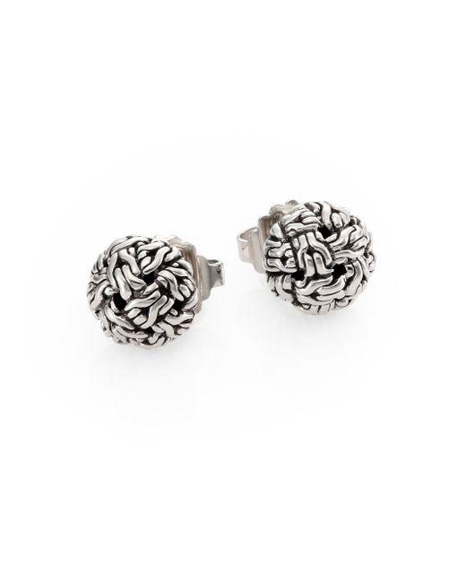 John Hardy | Metallic Classic Chain Sterling Silver Knot Stud Earrings | Lyst