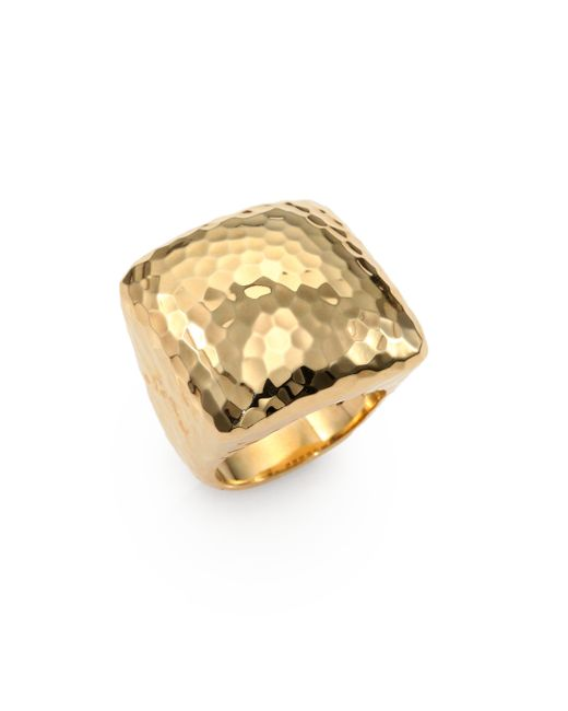 Roberto Coin | Metallic Martellato 18k Yellow Gold Square Cocktail Ring | Lyst