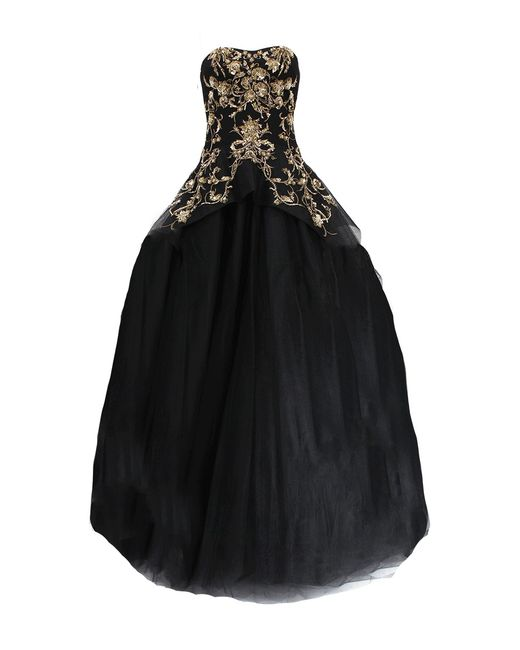 Marchesa | Black Gold Embroidered Tulle Gown | Lyst