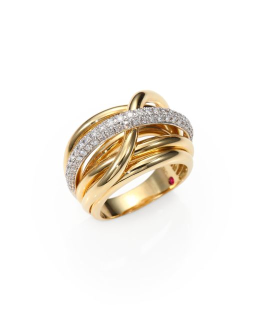 Roberto coin Classica Diamond & 18k Yellow Gold Crossover ...