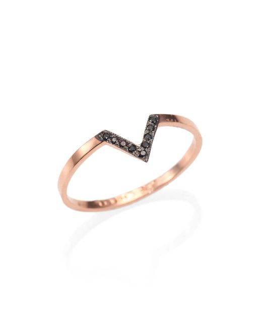 Zoe Chicco | Metallic Diamond & 14k Rose Gold Chevron Ring | Lyst