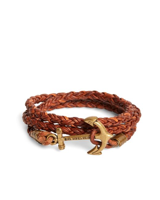 Brooks Brothers | Brown Kiel James Patrick Walnut Leather Rope Bracelet for Men | Lyst