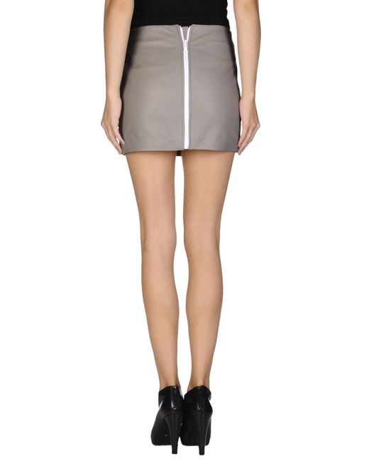 mauro grifoni leather skirt in gray grey lyst