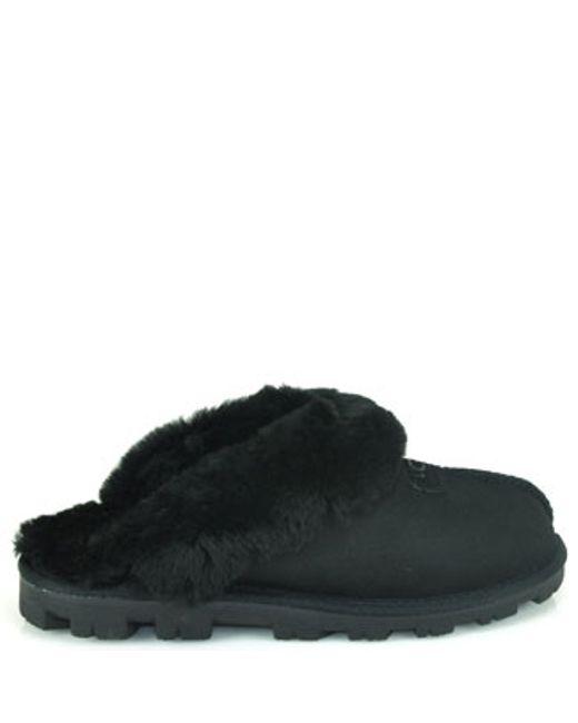 Ugg   Black Fluff Ii Shearling Fur Flip-flop Slipper   Lyst
