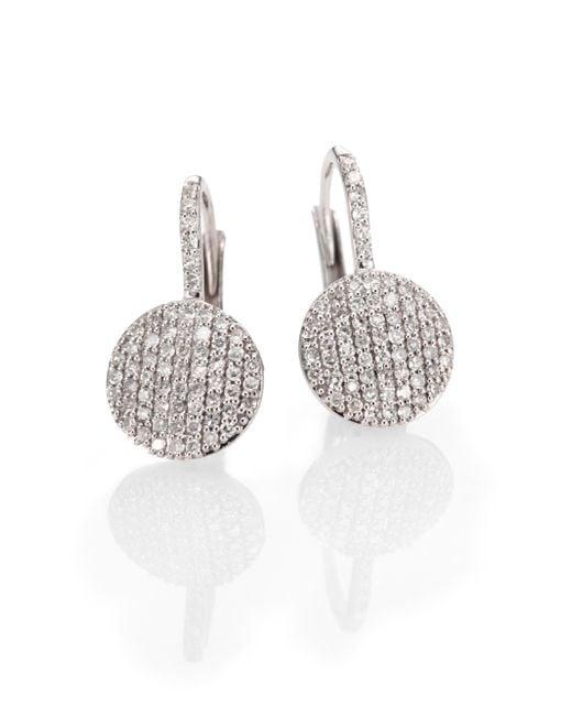 Phillips House | Metallic Diamond & 14k White Gold Disc Drop Earrings | Lyst