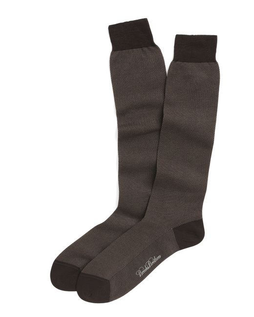 Brooks Brothers   Brown Cotton Bird's-eye Over-the-calf Socks for Men   Lyst
