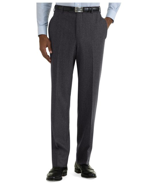 Brooks Brothers | Gray Milano Fit Plain-front Flannel Trousers for Men | Lyst