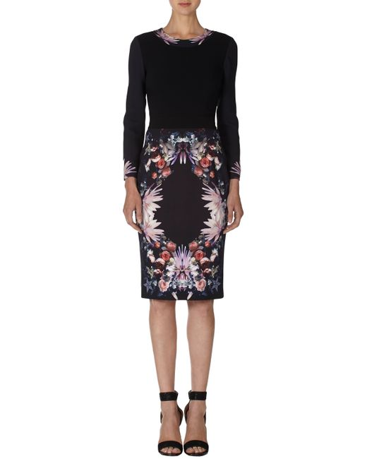 Givenchy   Black Placed Rose Cady Dress   Lyst