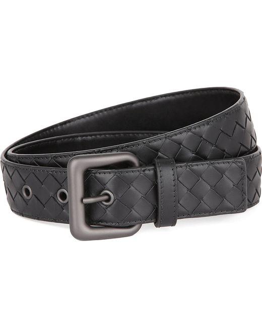 Bottega Veneta | Black Intrecciato Leather Belt | Lyst