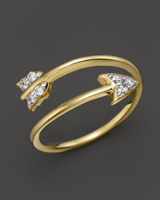Kc designs diamond arrow ring in 14k yellow gold 09 ct for Jewelry storm arrow ring