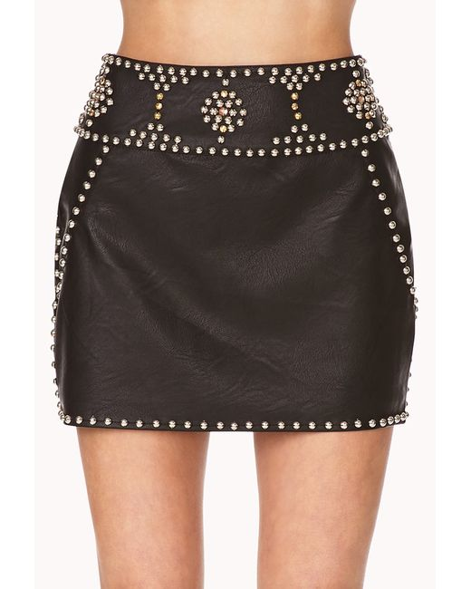 Forever 21 | Black Out West Studded Mini Skirt | Lyst