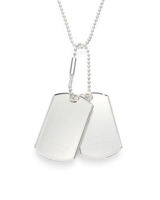 Gucci | Metallic Sterling Silver Dog Tag Necklaces for Men | Lyst