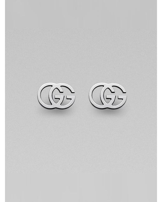 Gucci | Metallic 18k White Gold Double G Earrings | Lyst