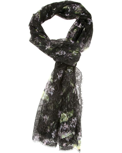 Valentino   Black Bead-Embellished Floral Lace Wrap   Lyst