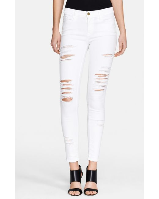 FRAME | Blue Le Color Rip Skinny Jeans | Lyst