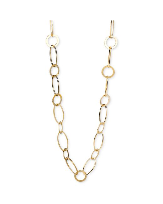 Kenneth Cole | Metallic Silver-tone Circle And Oval Link Long Necklace | Lyst