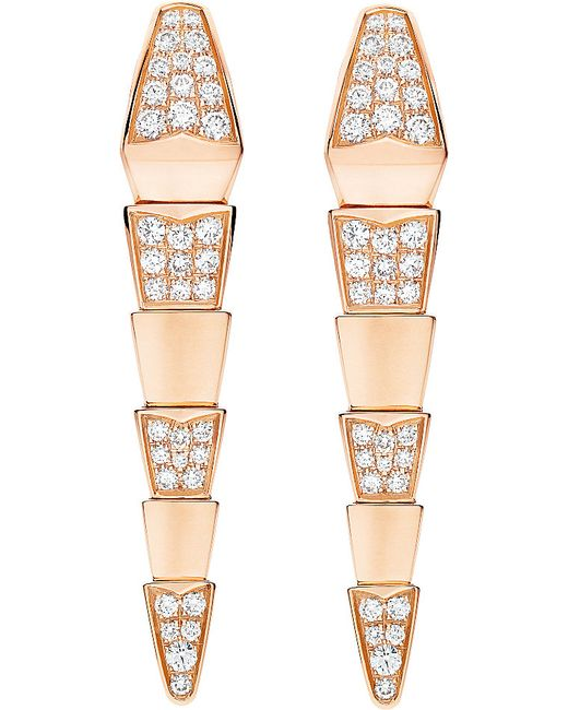 BVLGARI | Serpenti 18kt Pink-gold Earrings With Full Pavé Diamonds | Lyst