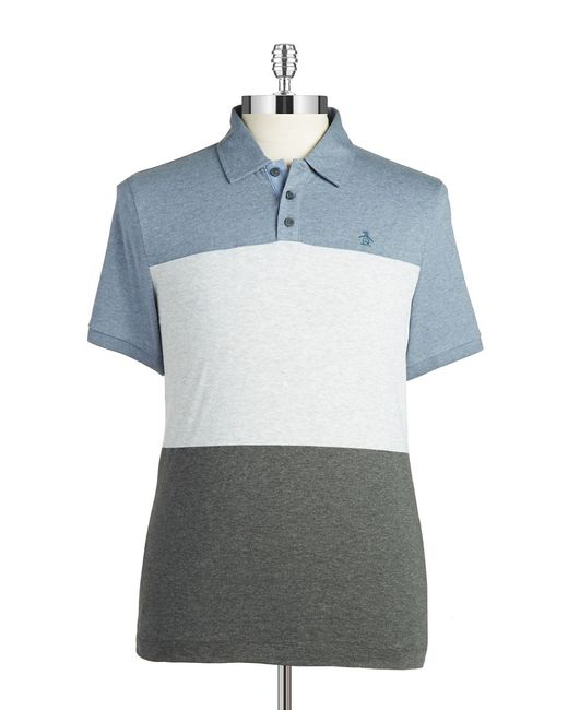 Original Penguin | Gray Slim-fit Colorblocked Polo for Men | Lyst