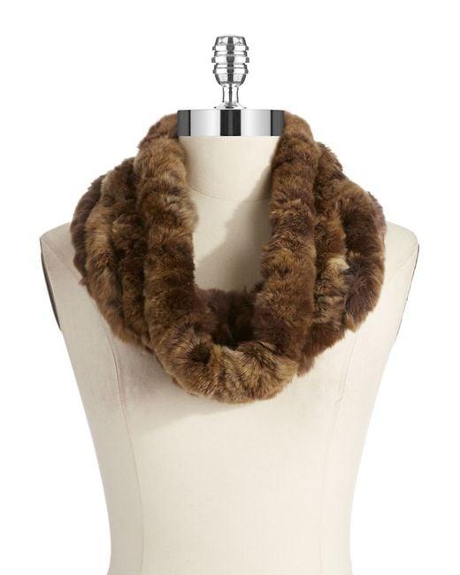 Surell   Brown Rex Rabbit Fur Infinity Scarf   Lyst