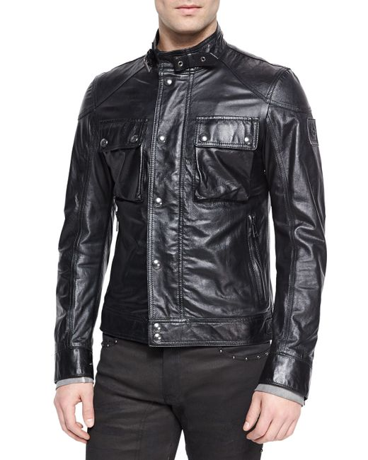 Belstaff Racemaster Leather Jacket In Black For Men Lyst