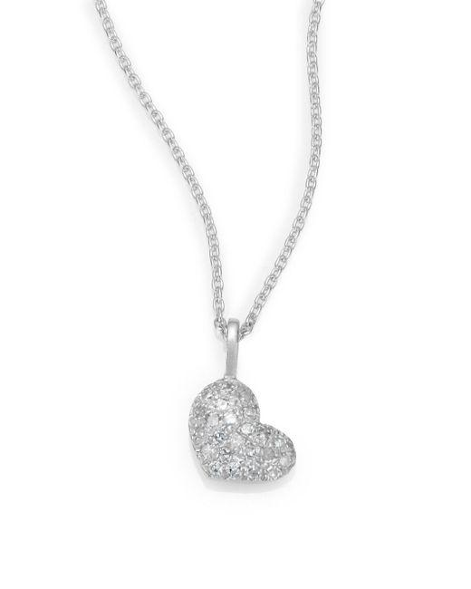Saks Fifth Avenue | Diamond & 14k White Gold Heart Necklace | Lyst