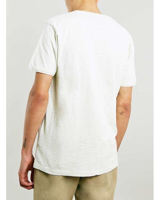 Topman | Blue White Step Hem Longline T-shirt for Men | Lyst