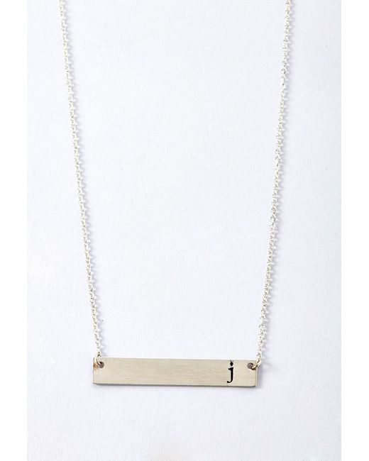 Forever 21 | Metallic Adorn512 Initial J Bar Necklace | Lyst